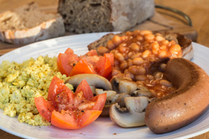 Vegusto's Farmhouse Sausage Breakfast with Scrambled Tofu