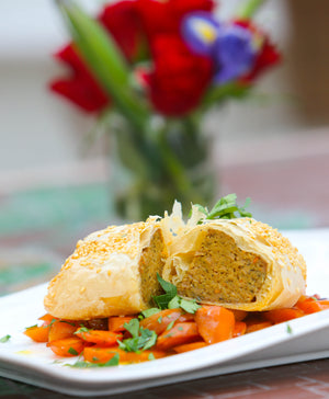 Filo Vegan Roast with Glazed Carrots