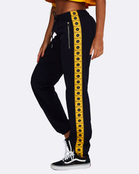 Logo Track Pants - Navy with Yellow