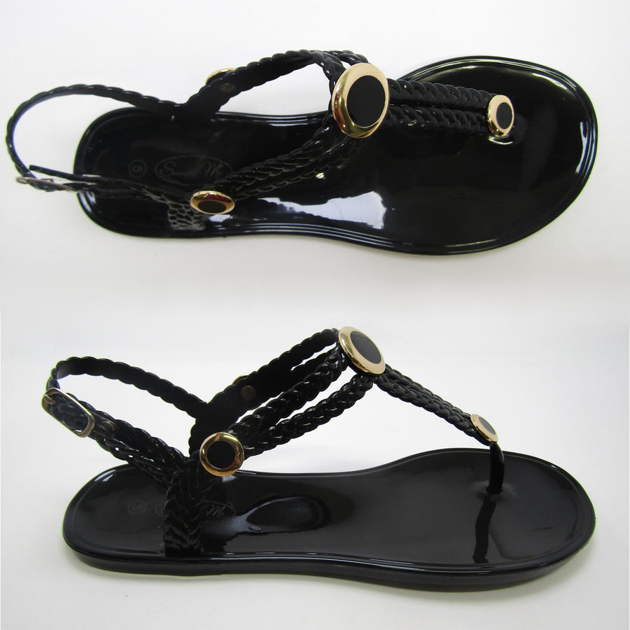 Charlotte Black Sandal- Black and Gold Studs