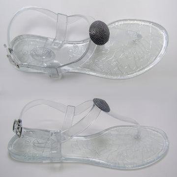 Saint Claire Glossy Clear Sandal- Gunmetal Stud