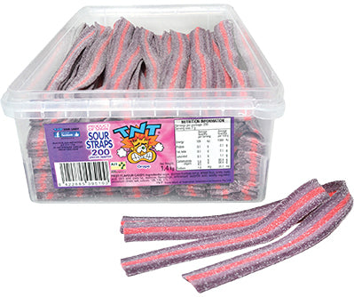 TNT SOUR STRAPS GRAPE - PURPLE AND PINK (200 PC IN A DISPLAY UNIT)