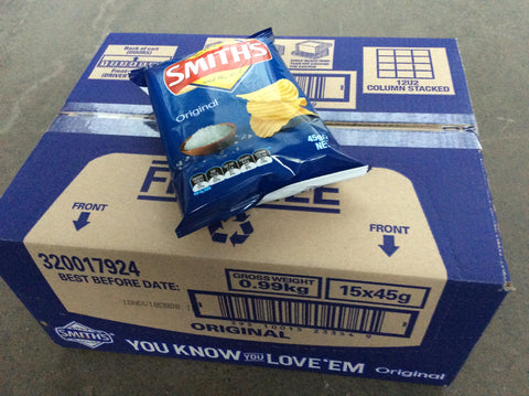 Smiths Chips 45gm Original box of 18