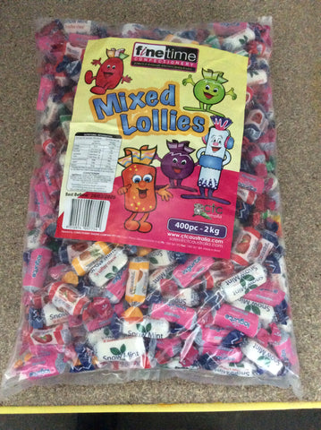 2kg finetime mixed wrapped lollies .