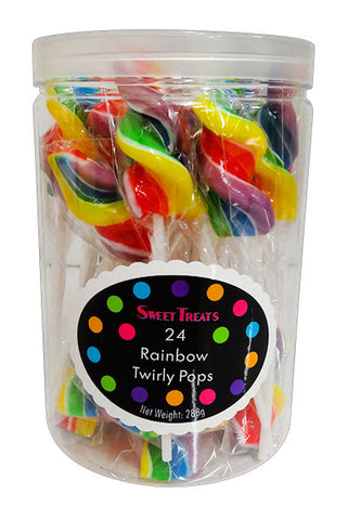 SWEET TREATS RAINBOW TWIRLY POPS (24 X 12G TUB)