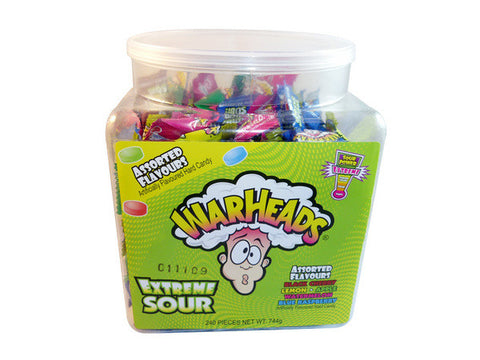 Warheads Extreme Sour Candy 3.1g 240 pieces in a tub