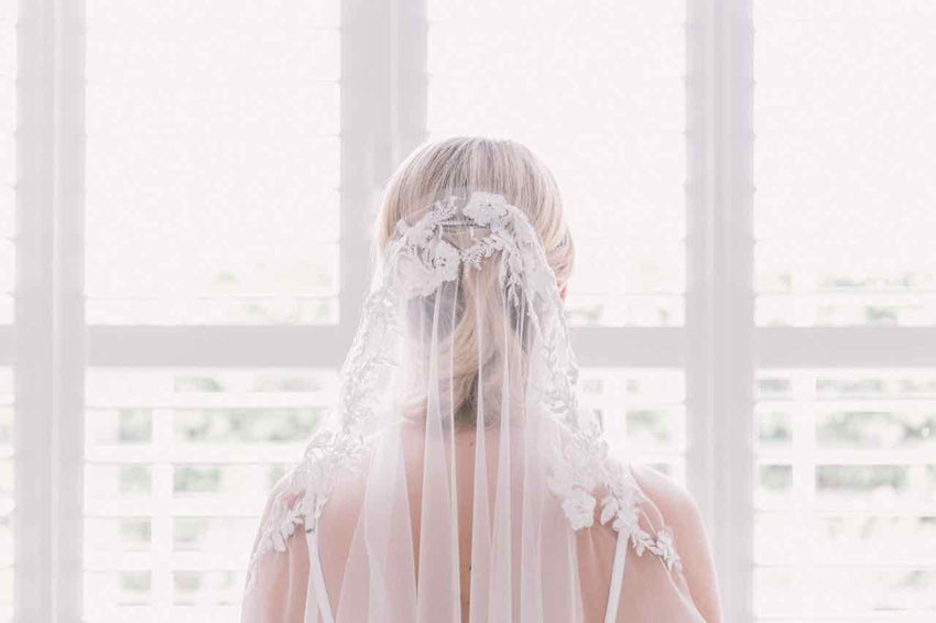 Flora | Embroidered edge mantilla veil