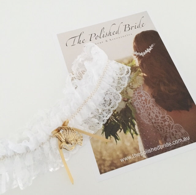 Maya | White and gold wedding garter