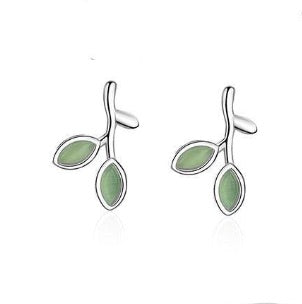 Emerald Green Leaf Earrings