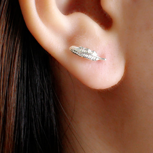 Silver Feather Stud Earrings