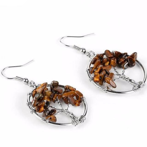 Tree of Life Tiger's Eye Earrings