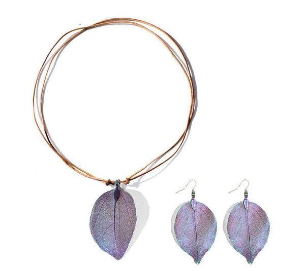 Enchanted Leaf Necklace & Earrings Set