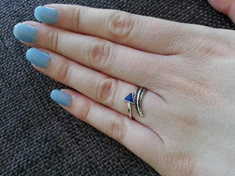 Geometric Feather Ring - Adjustable