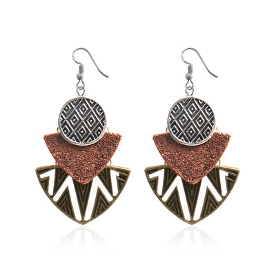 trio-metric drop earrings