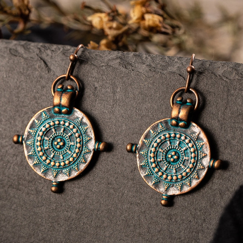 vintage compass earrings