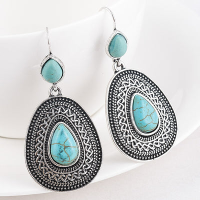 turquoise tribal drop earrings