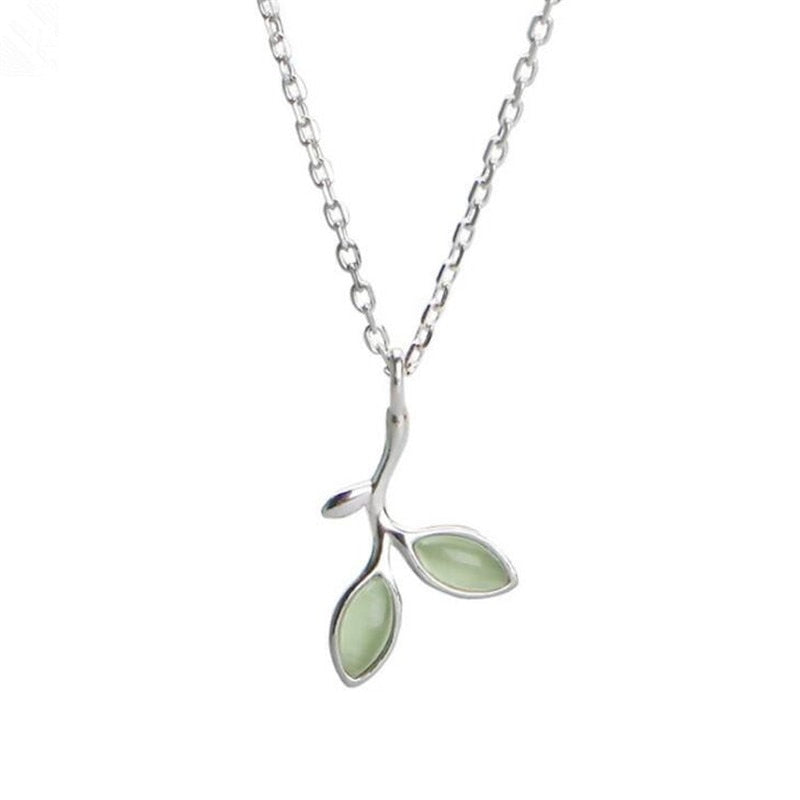 Emerald Green Leaf Necklace