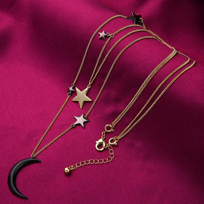 3 Layered Crescent Moon Choker Necklace
