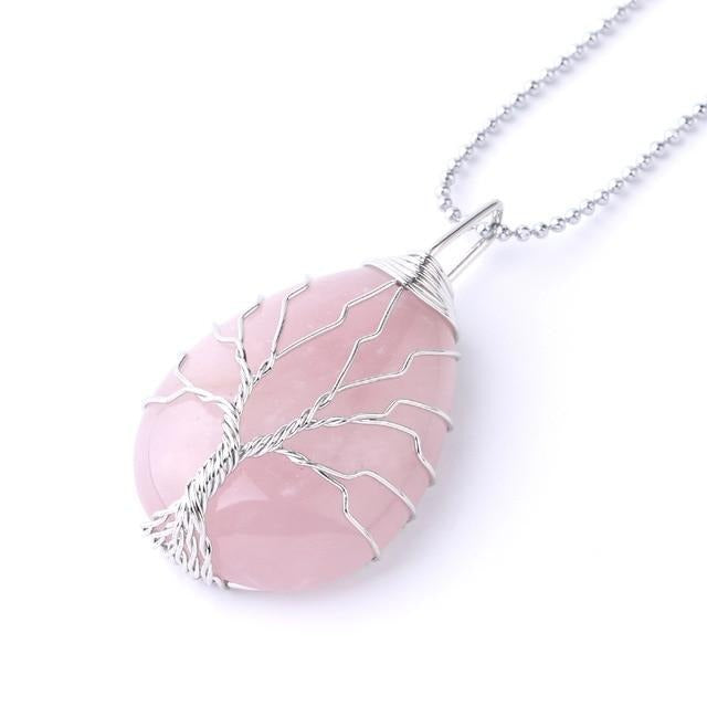rose quartz tree of life pendant