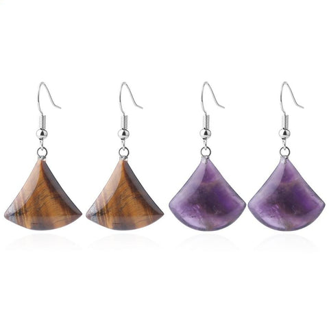tigers eye fan drop earrings