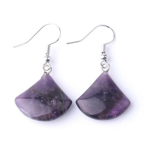 amethyst fan drop earrings