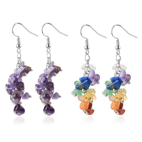 amethyst stones drop earrings