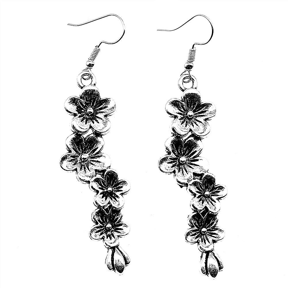 droplet flowers charm earrings