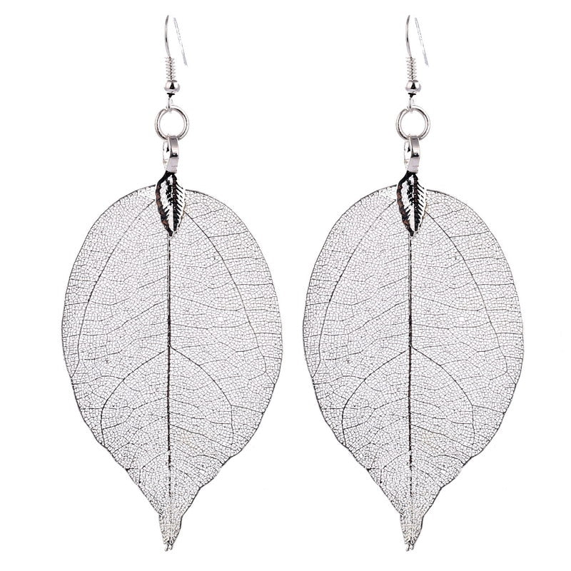 natural leaf drop earrings