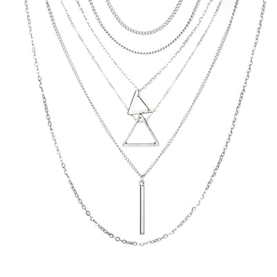 Triangle Layered Drop Necklace