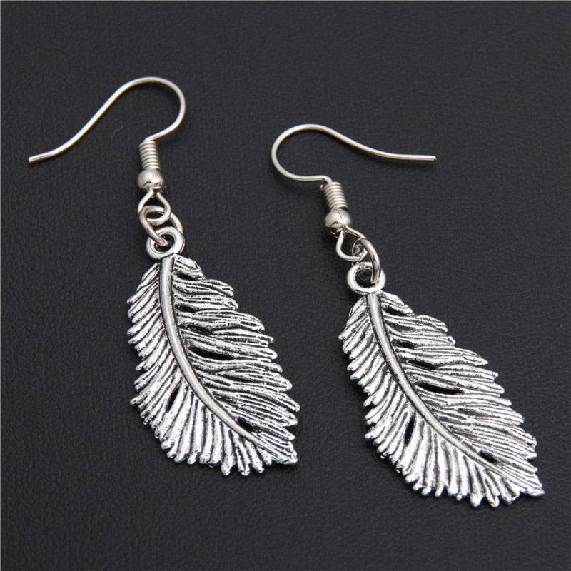 Blowing Feather Drop Earrings