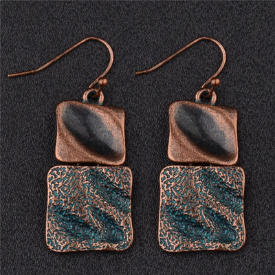 copper groove drop earrings