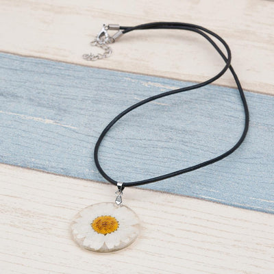 Handmade Flower Pressed Necklace - Leather