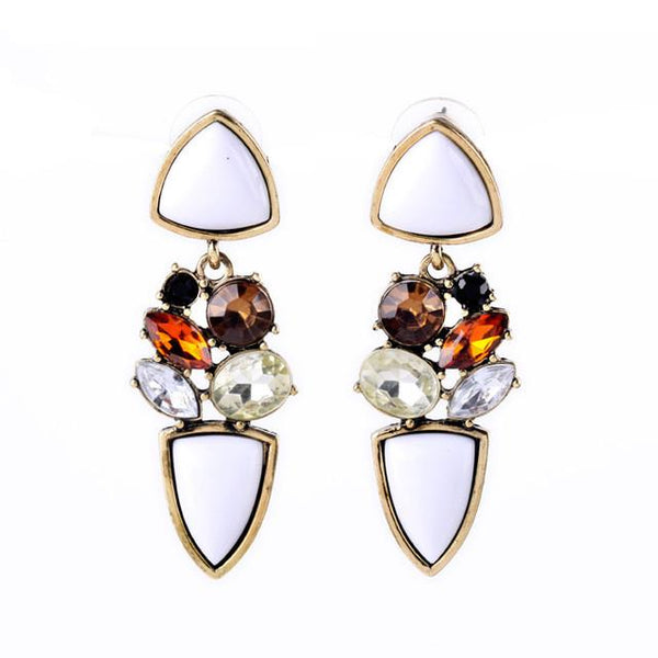 Elegant Gem White Drop Earrings