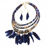 Boho Feather Statement Set