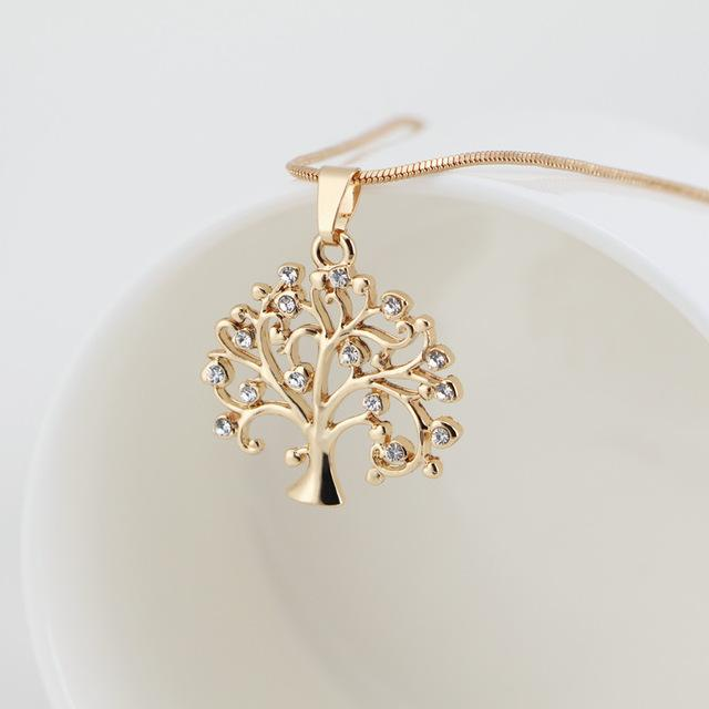 Golden Tree Of Life Crystal Pendant