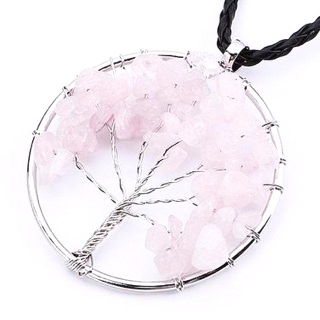 Rose Quartz Tree of Life Necklace
