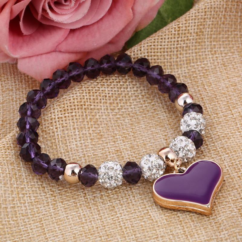 Crystal Beaded Heart Bracelet