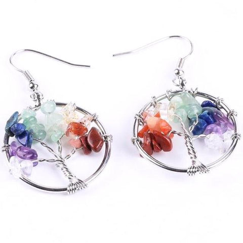 Tree of Life Chakra Stone Earrings