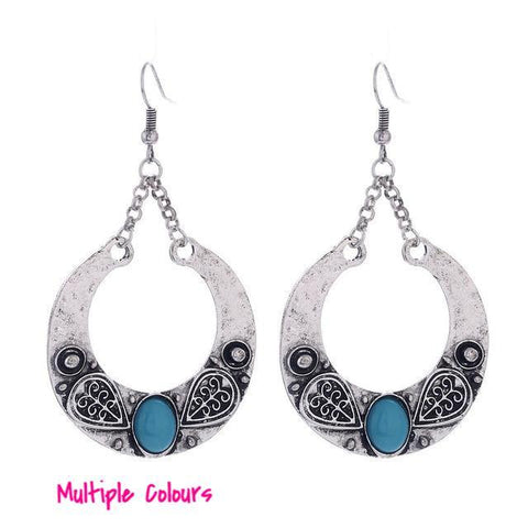 Tibetan Drop Hoop Earrings