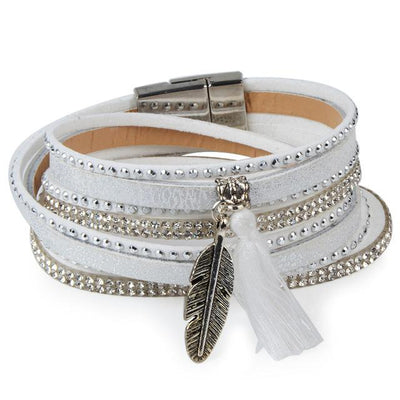 Double Wrap Jewelled Feather Bracelet