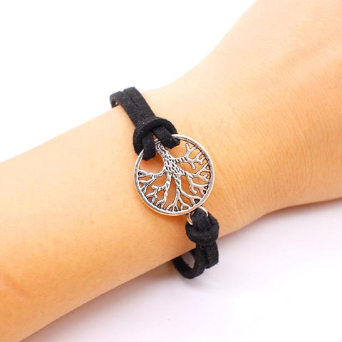 Soft Leather Tree of Life Bracelet