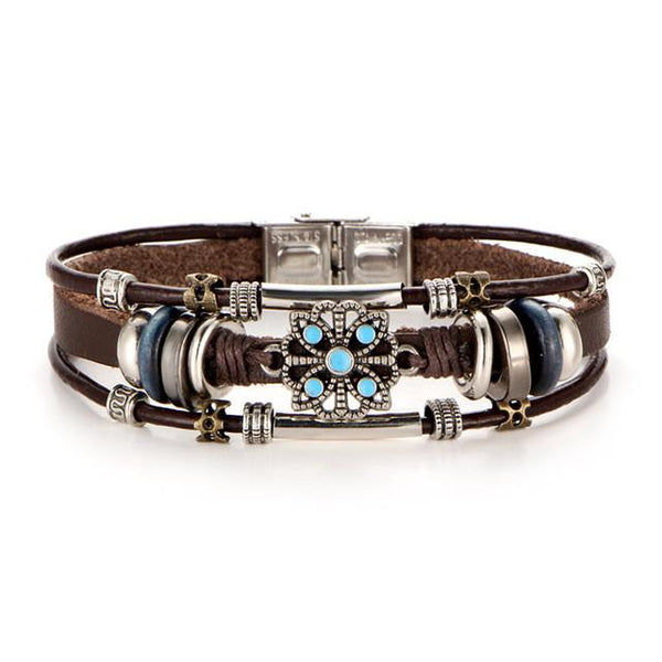 Ornate Flower Leather Bracelet