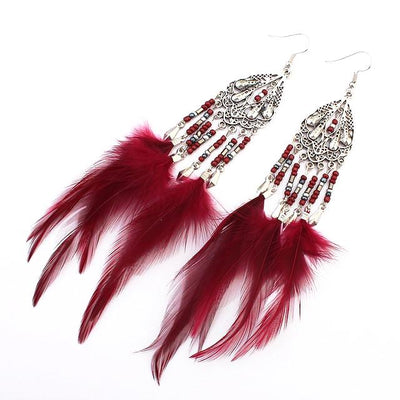 Soft Feather Beaded Drop Earrings