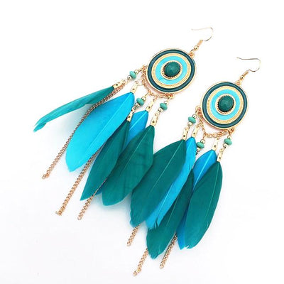 Retro Feather Drop Earrings