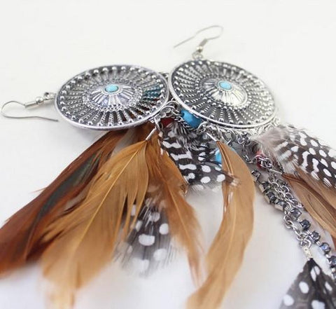 Gypsy Queen Feather Earrings