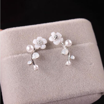 Morning Pearl Flower Climber Earrings