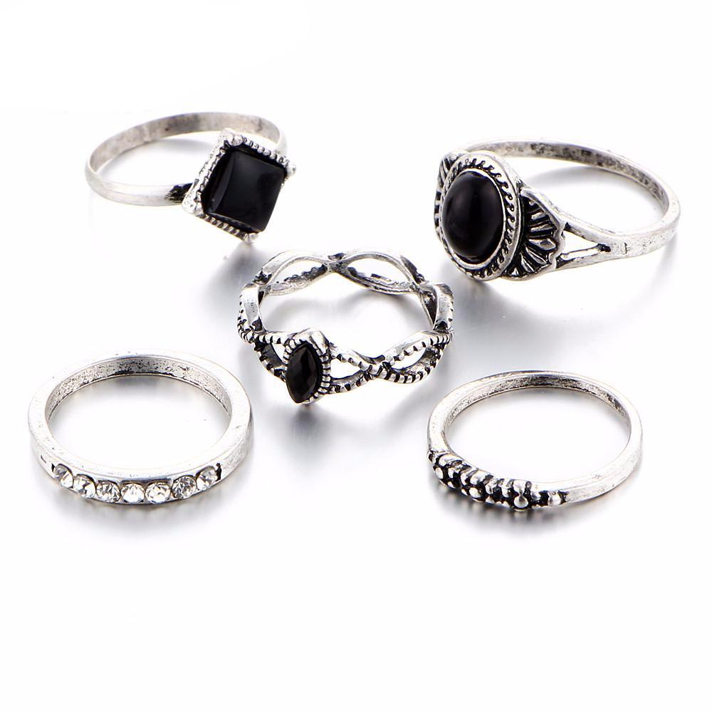 Black Shadow Midi Rings - Set of 5