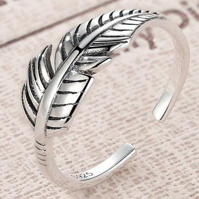 Graceful Feather Ring - Adjustable