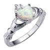 White Opal Heart Ring