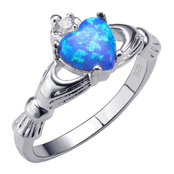 Blue Opal Heart Ring